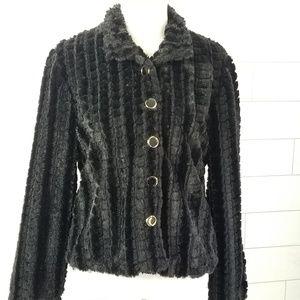 Vintage Women's Medium Black Furry Jacket
